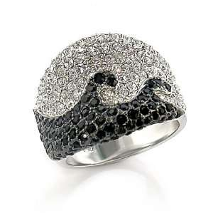 Silver Tone Black Austrian Crystal Pave Ring, Size 5