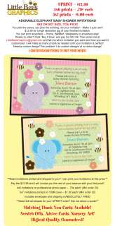 CUTE Elephant Custom Baby Shower Invitations   UPRINT