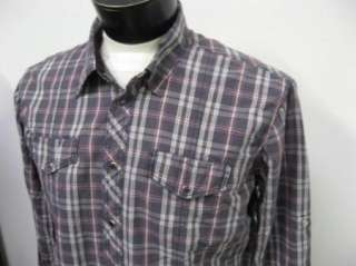 NEW Pepe Jeans London REBEL L/S Gray Plaid SNAP Shirt L