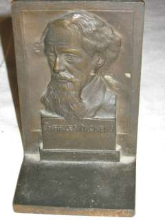 ANTIQUE CHARLES DICKENS 3 D BUST STORY BOOK ART NOUVEAU CAST IRON MAN