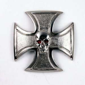 Iron Cross w/small skull Gas Cap Cover for stock Harley