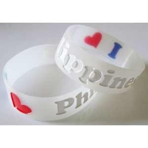 Love Philippines   Silicone Wristband / Bracelet   Philippine Flag
