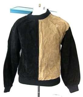 Vtg 80s Punk Black Brown Suede Pullover Shirt Jacket S