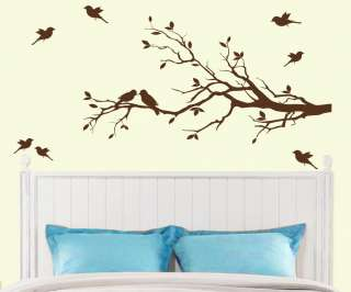 Tree Branch with 10 birds Wall Decal Deco Art Sticker Mural, 14 colors
