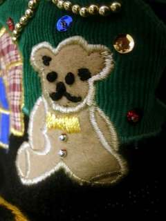 Montgomery Wards Vintage Ugly Christmas Sweater Doll Tree Bear Train