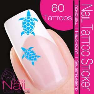 Nail Tattoo Sticker Turtle / Tortoise   turquoise: Beauty
