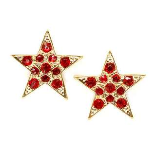 Twinkle Sparkle Crystal Double Star Stud Fashion Earrings Gold Tone