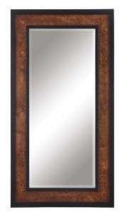 Beveled Rectangular Mirror Olive Ash Burl Wood Veneer