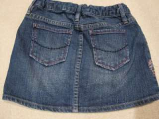 Gap KIds Girls HEART Embroidered Denim Jean Skirt 8 Regular Valentines