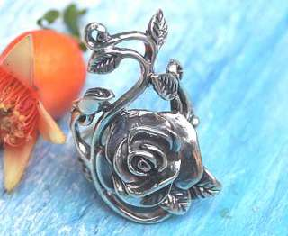 BEAUTIFUL ROSE FLOWER RING .925 STERLING SILVER.US10/T