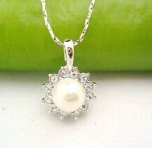 18K white gold plated white pear Womans Necklaces L11