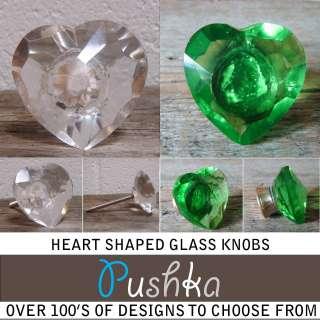 Pushka UK Clear Cut Heart Glass Cupboard Door Knobs