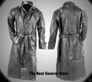 Black Leather Trench Coat Full Length Duster Mens NEW