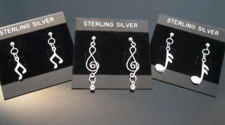 Earrings Dangle Music Note Treble Clef Sterling Silver Pair or Single