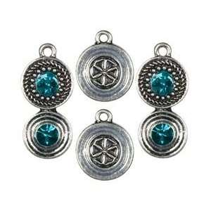 Cousin Jewelry Basics Metal Charms 4/Pkg Silver/Teal