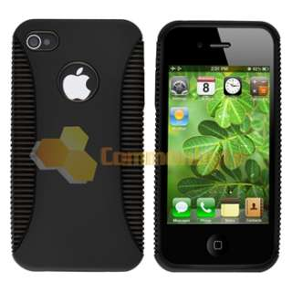 Black TPU Black Plastic Case+Clear Screen Protector For Apple iPhone 4