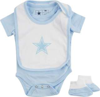 Dallas Cowboys Newborn Light Blue Monkey Bars Creeper, Bib & Bootie