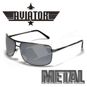 AVIATOR Sunglasses Shades Mens Metal Gray Mirrored