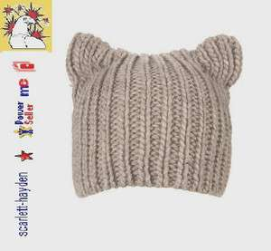 New Topshop Cute Grey Bear Ears Knitted Beanie Hat ♥One Size RRP