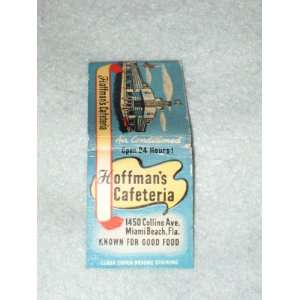 Vintage Hoffmans Cafeteria Matchbook Miami Beach Florida