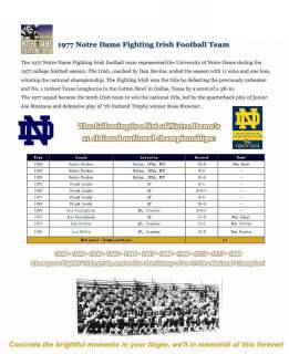 1977 Notre Dame Fighting Irish College NCAA National Championship