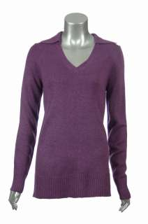 Womens Silk & Cashmere Casual Split Neck Polo Tunic Sweater Top
