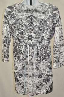 Kiara Womens Rhinestone V Neck Top Black Paisley Tunic Size Large