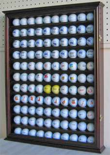 110 Golf Ball Display Case Shadow Box Wall Cabinet, Solid Wood, Cherry