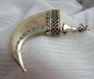 ART DECO LARGE MOUNTED BIG CAT TIGER CLAW PENDANT C1930 POSS FOREIGN