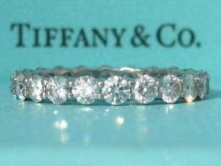 TIFFANY & CO. SHARED SETTING WEDDING PLATINUM DIAMOND BAND RING SIZE 6