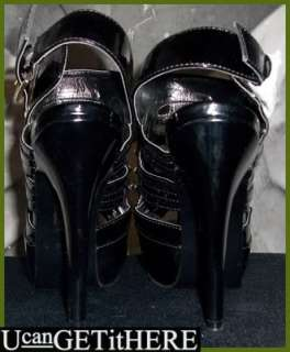 Womens Shoedazzle Domino Black Patent Leather Pumps 8 NEW 5.5 High