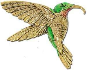 ENAMEL Gold Tone Ruby Throated HUMMINGBIRD Brooch PIN