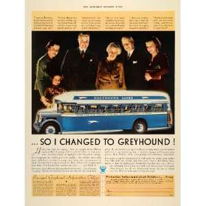 1934 Ad Greyhound Bus Line Blue Travel Transportation   Original Print