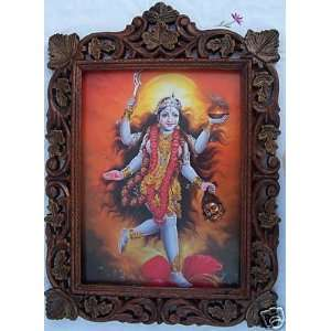Lord Maa Maha Kali Poster Painting in Wood Craft Frame