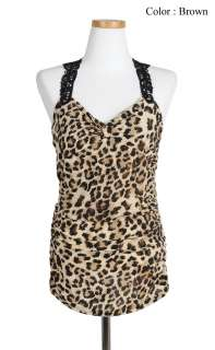 New Womens Sexy Lace Back Leopard Summer Tank Top sz S