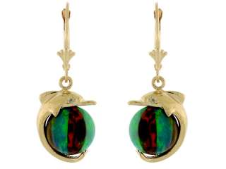 14K GOLD 10MM COLORFUL OPAL BEACH BALL DOLPHIN EARRING