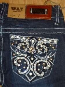 WAY booty jeans FLEUR DE LIS sparkle RHINESTONES 30 bling 9 ~like LA