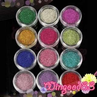 12 Pots Colorful Glass Ball Metal 1mm Mini Bean Beads Nail Art Design