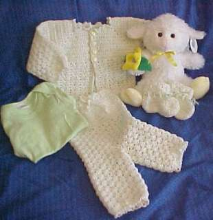 Hand Crochet Baby Sweater and Pants Set