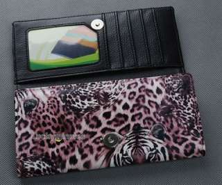 I507 Cool Pink Tiger Leopard Print Lady Women Long Wallet Purse Coin