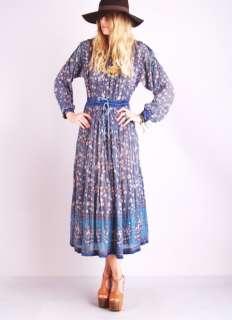 INDA GAUZE Cotton Sheer Gypsy TIE SHOULDERS Hippie Festival MAXI DRESS