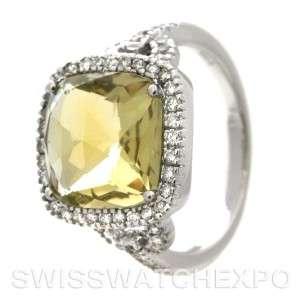 Radiant 14k White Gold Green Quartz & Diamonds Ring