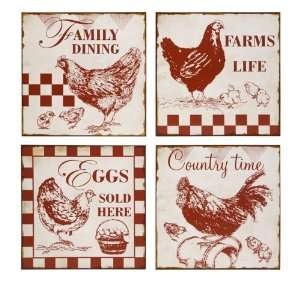 Vintage Cafe Chicken Signs (Set of 4)   IMAX   27542 4
