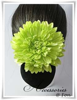 Beautiful Big Green Chrysanthemum Barrette Clip Snood Hair Net Hair