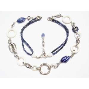 Cruise Collection  Long Blue and White Link Necklace with