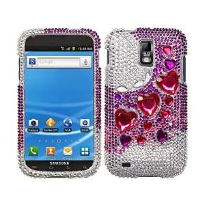 Hot Pink Purple Hearts 3D Bling Rhinestone Diamond Crystal