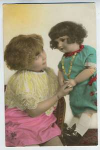 Child Girl with BIG HUGE Doll original vintage old 1920s photo