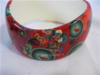 Desigual Pulse_Chaosing Bracelet Bangle Red Plastic Roses Targets