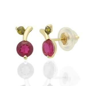 CZ Cherry Yellow Gold Earring W/Safety Back For Kids & Teens Jewelry