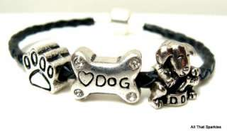 Black Puppy Dog Bone Paw Print Braided Bead Bracelet